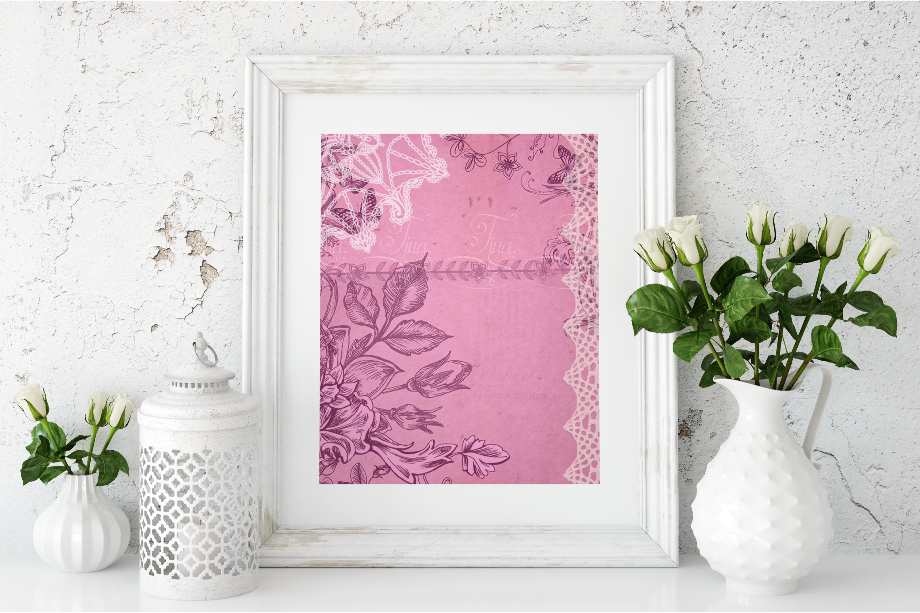 Rose Pink and Lace Doily Floral 091618R1 example image 2