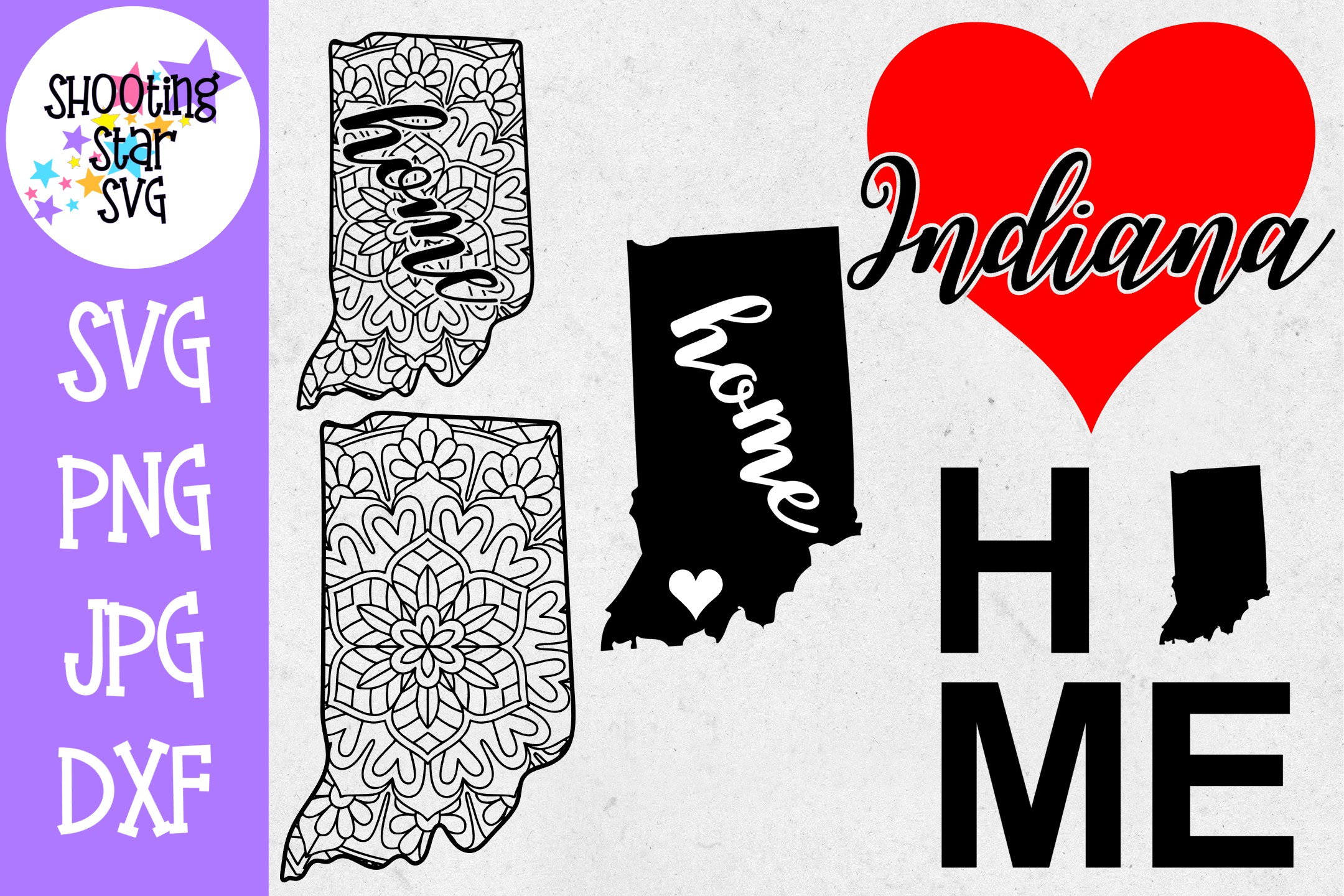 Indiana US State SVG Decal Bundle - 50 States SVG example image 1