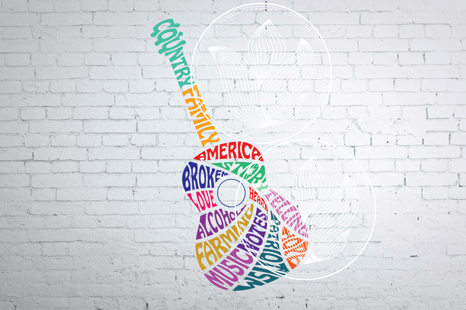 Digital Country Guitar Word Art Design With Sound Hole