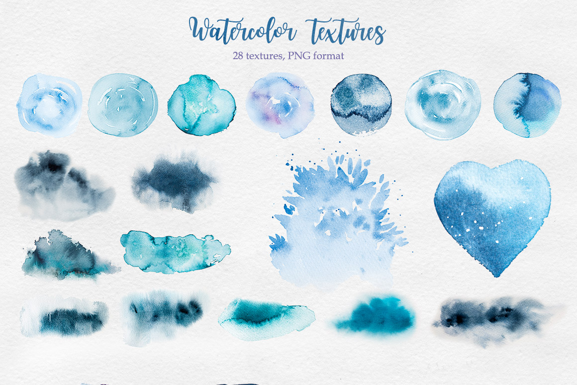 Winter. Watercolor collection. example image 11