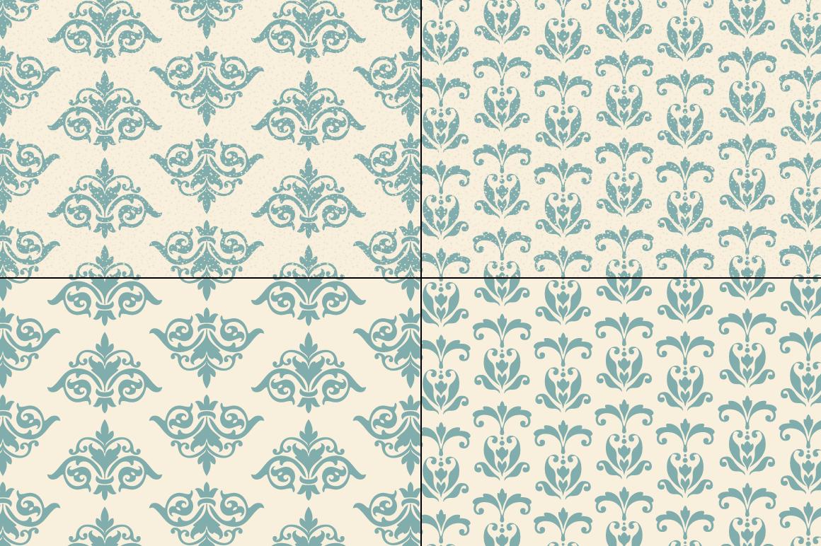 Seamless Blue Damask Patterns example image 5