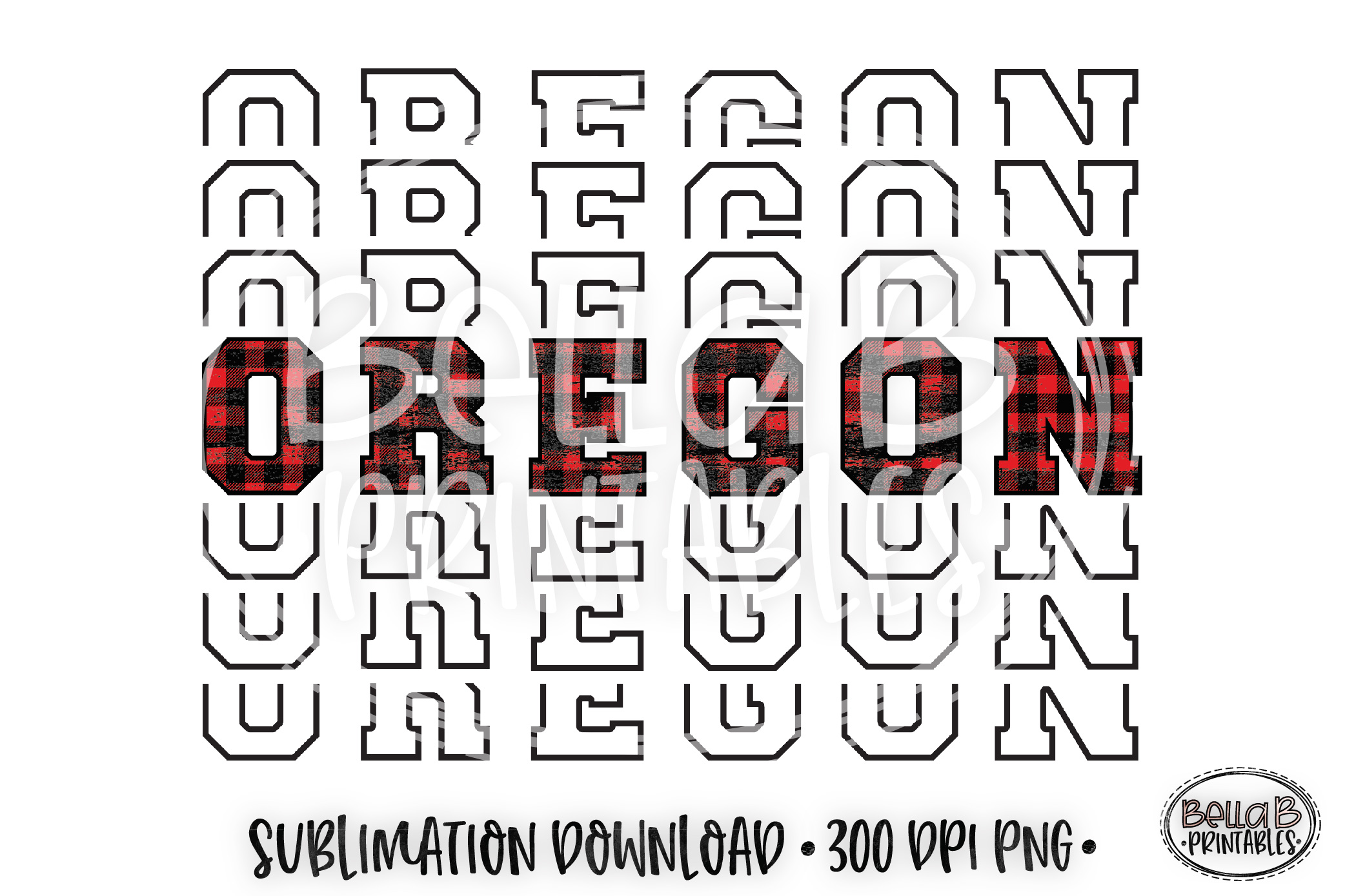 Oregon Sublimation Design, Buffalo Plaid, Mirrored Design example image 1