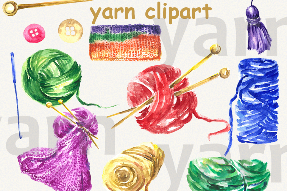 Yarn clipart, thread clipart, sewing, watercolor clipart example image 2