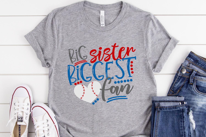 Baseball Sister - Big Sister Biggest Fan SVG example image 2