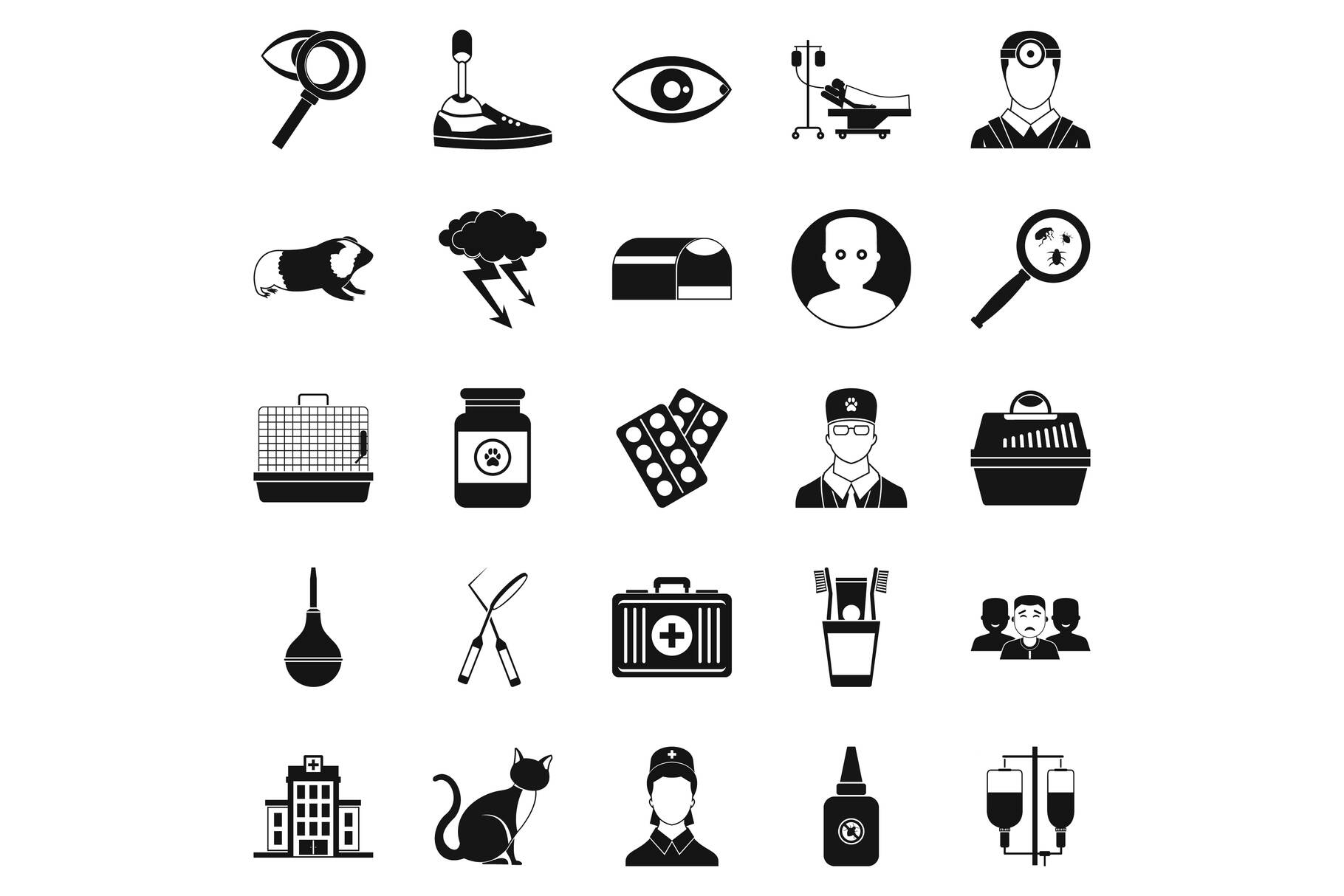 Anxiety icons set, simple style example image 1