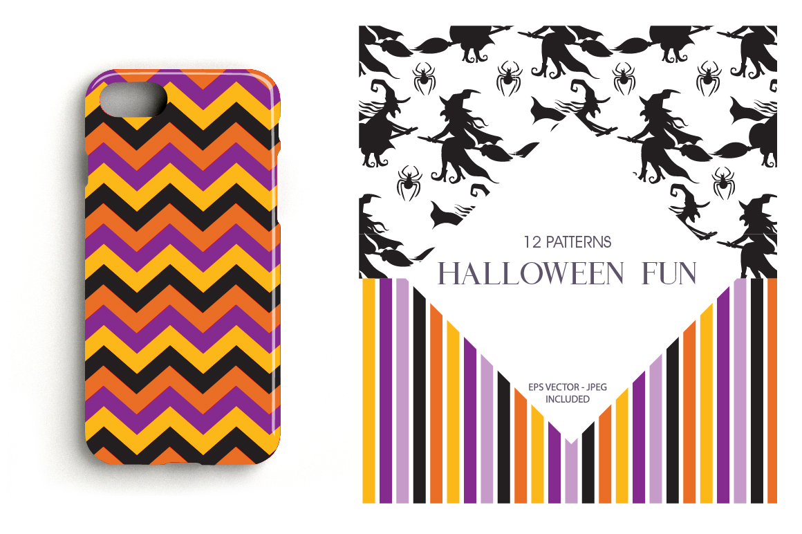 Halloween Fun Pattern collection, vector ai, eps and example image 4