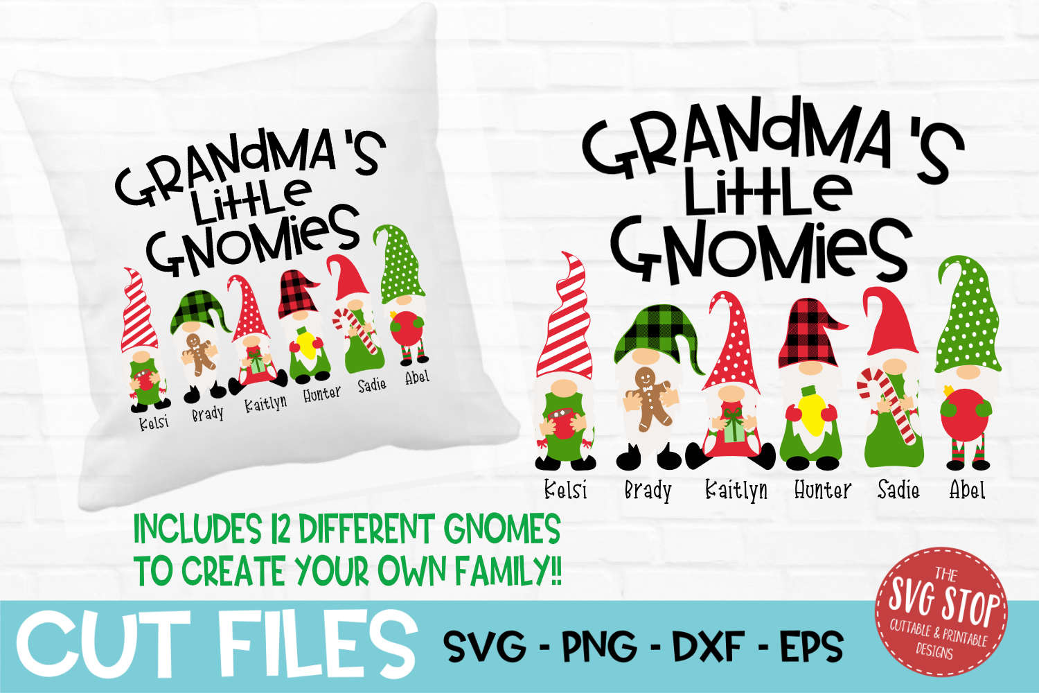 Grandma's Little Gnomies Christmas SVG, PNG, DXF, EPS example image 1
