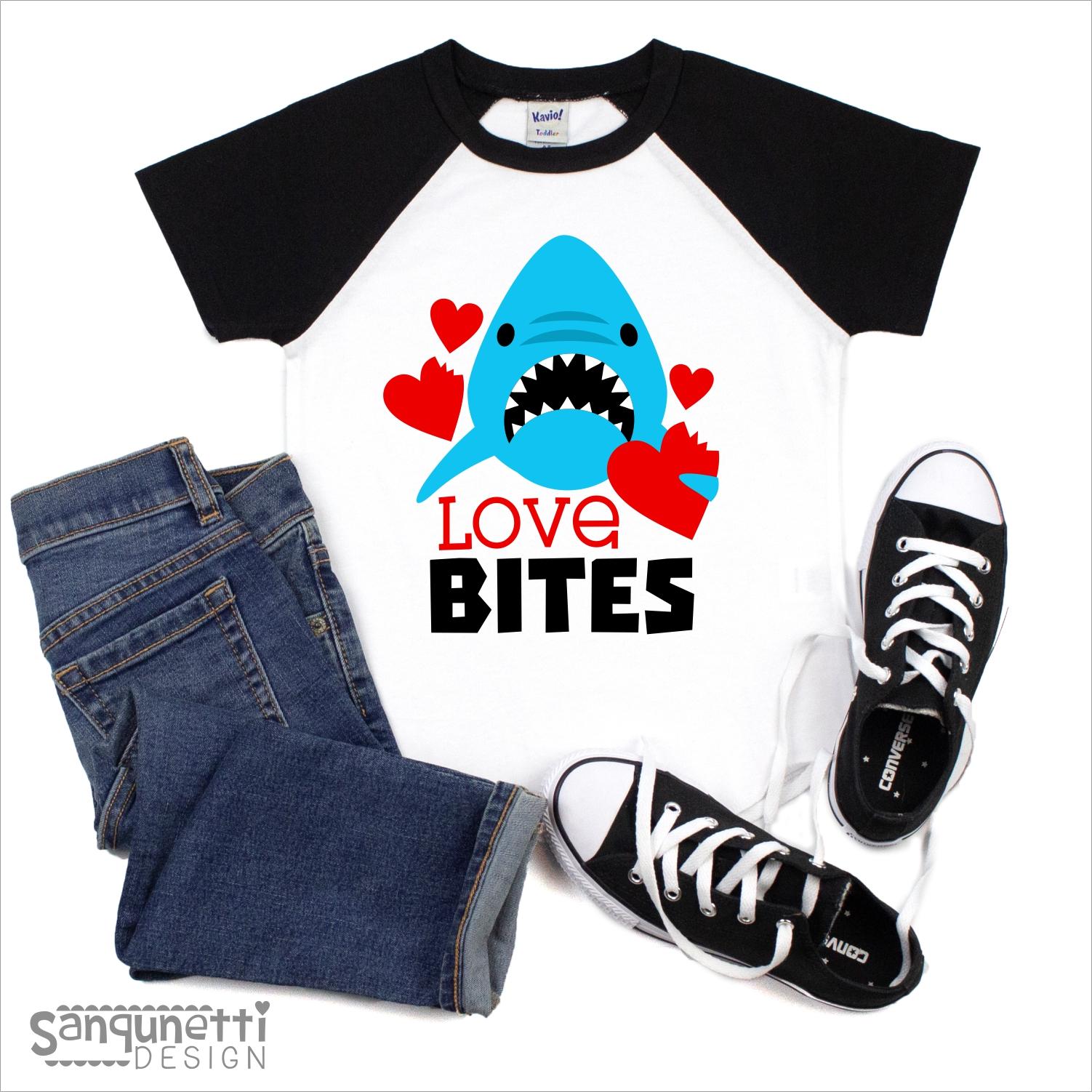 Love Bites Valentine SVG, Shark cutting file for boys example image 2