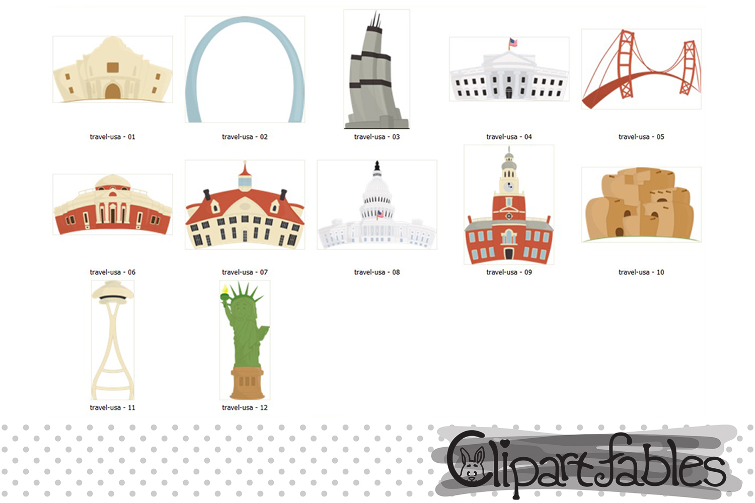 Around in the USA clipart, Famous national buildings example image 2