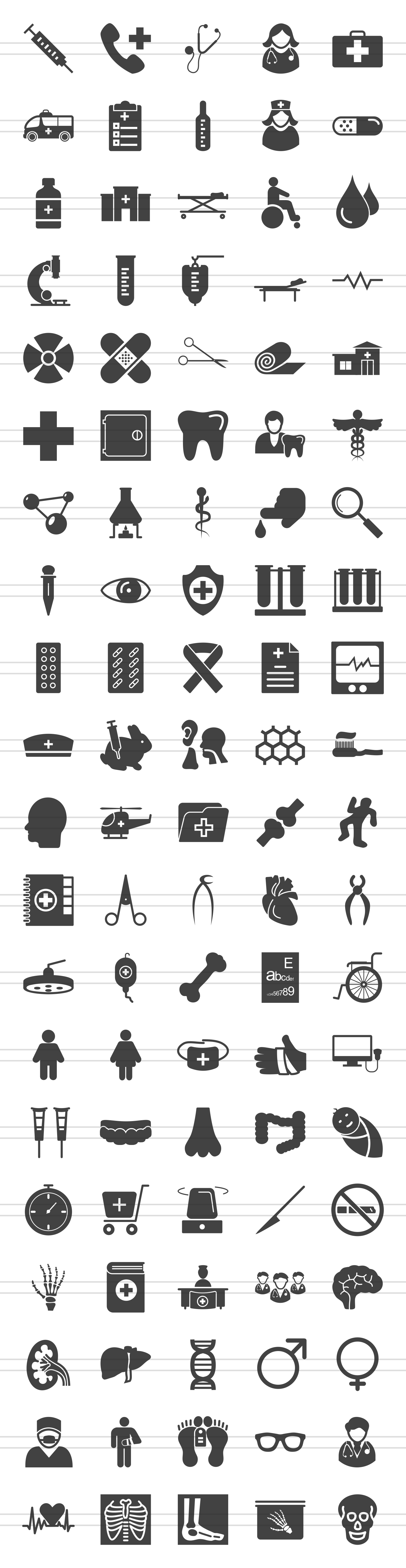 100 Medical General Glyph Icons example image 2