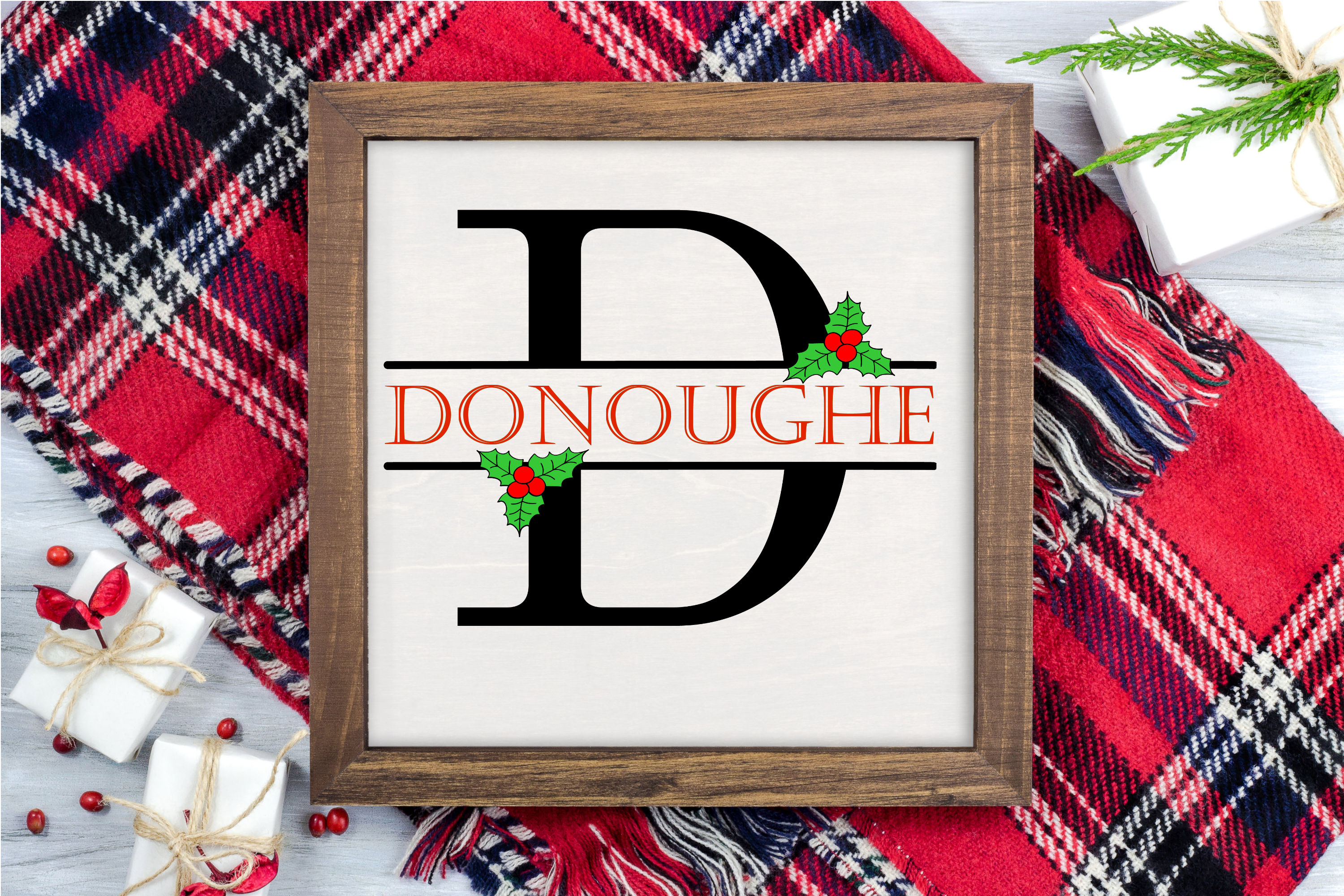 Split Letters A-Z - 26 Christmas split monograms with holly example image 6