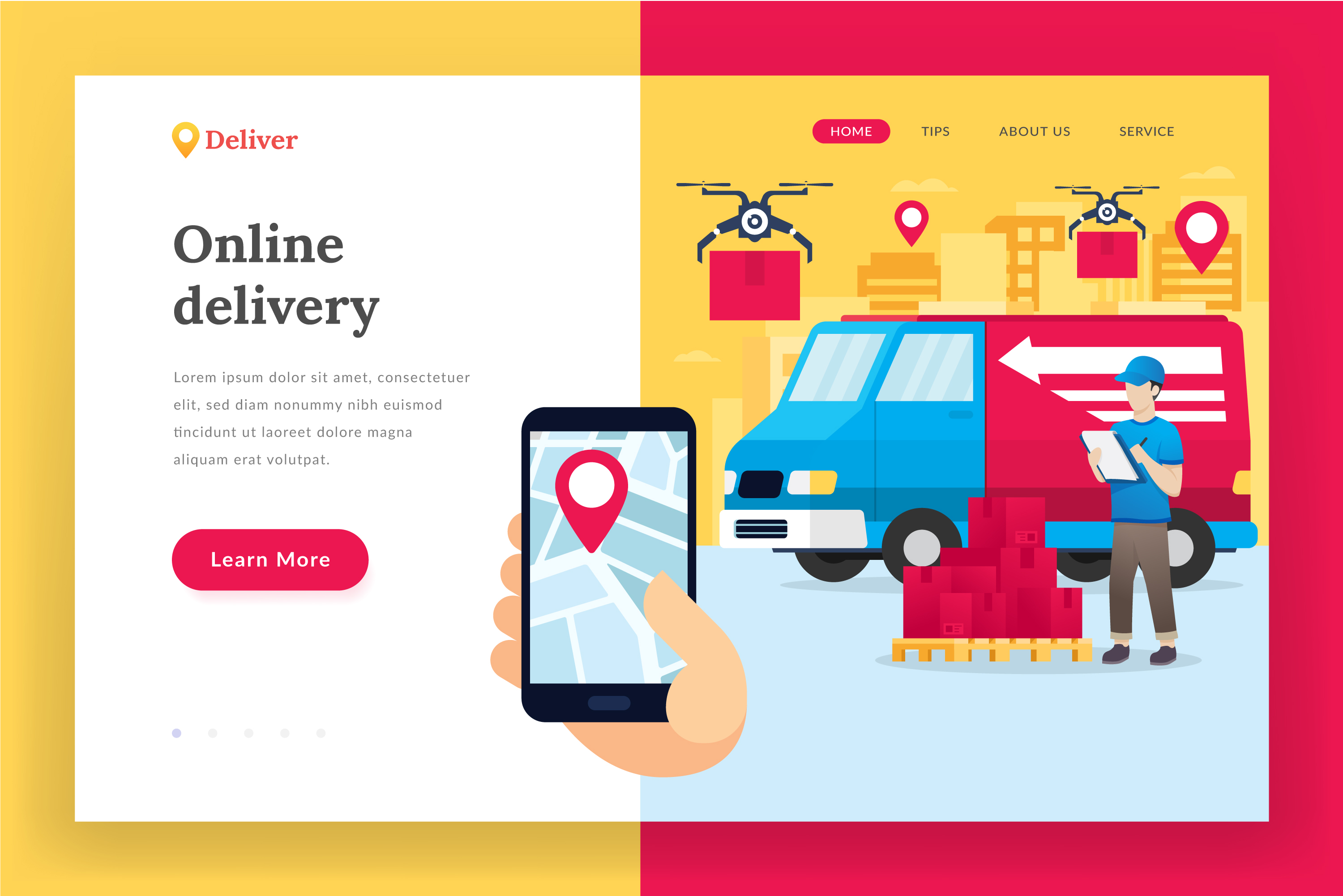 Online delivery service - landing page illustration example image 1