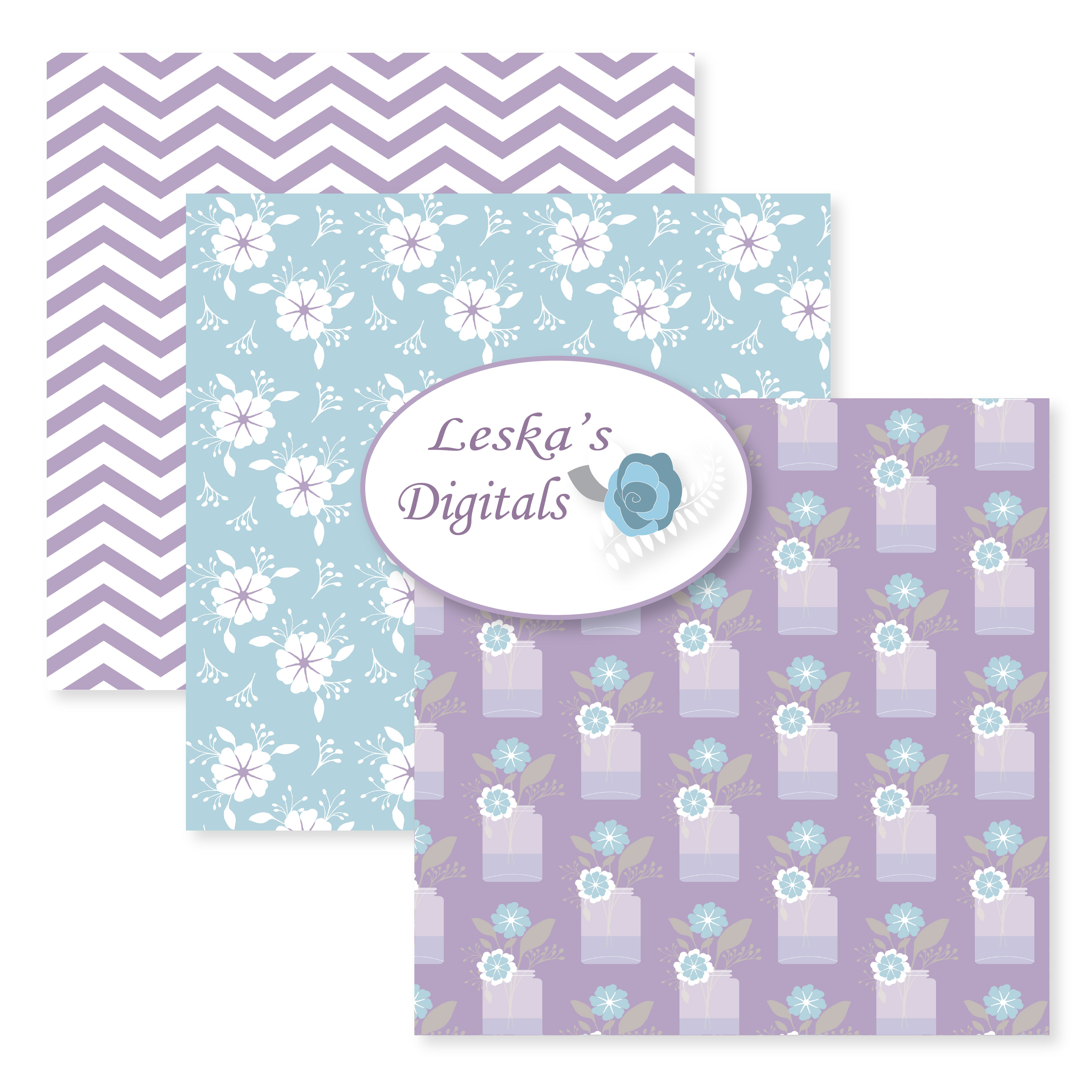 Floral Digital Paper Pack in Lavender, lilac, purple example image 5