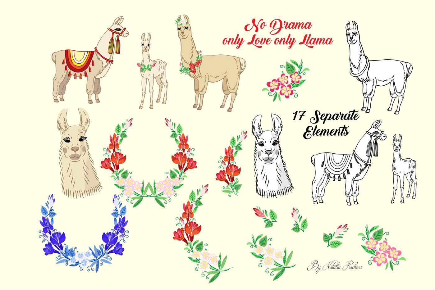 Llama Clipart with red flowers example image 2