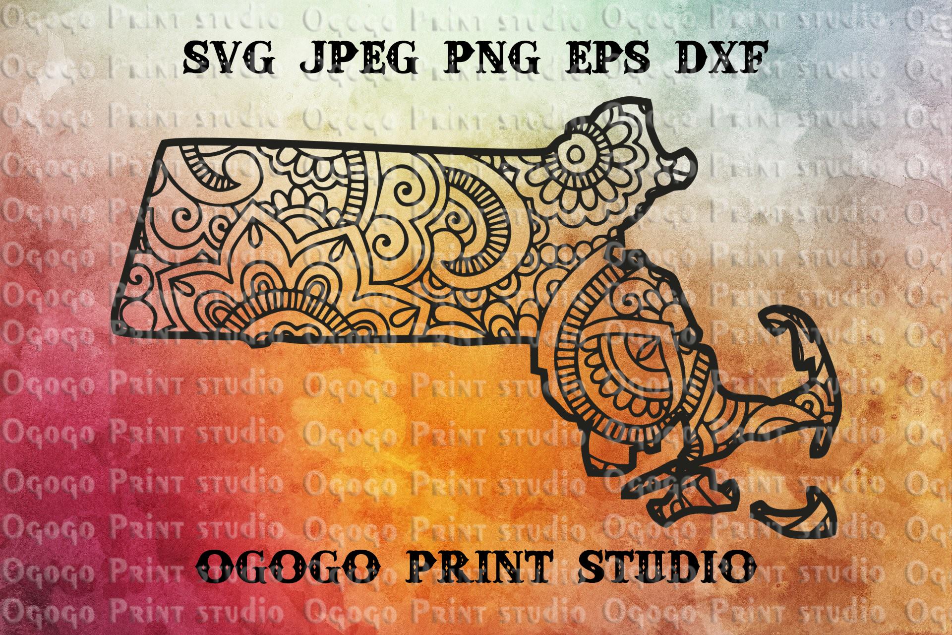 Massachusetts SVG, Zentangle SVG, Travel svg, Mandala svg example image 1