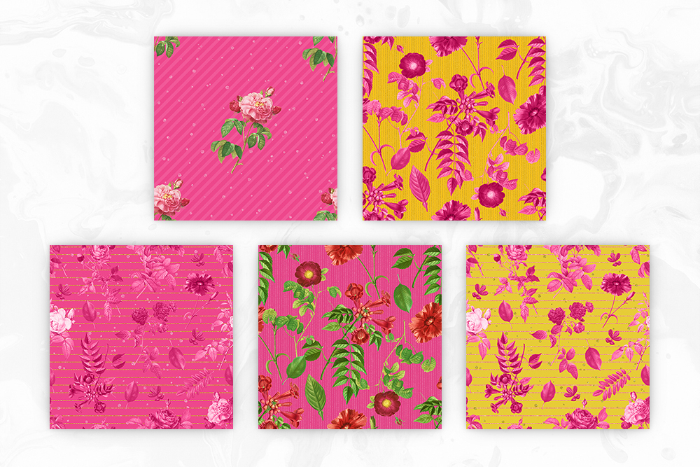 Bright Yellow & Pink Vintage Floral Seamless Patterns example image 3