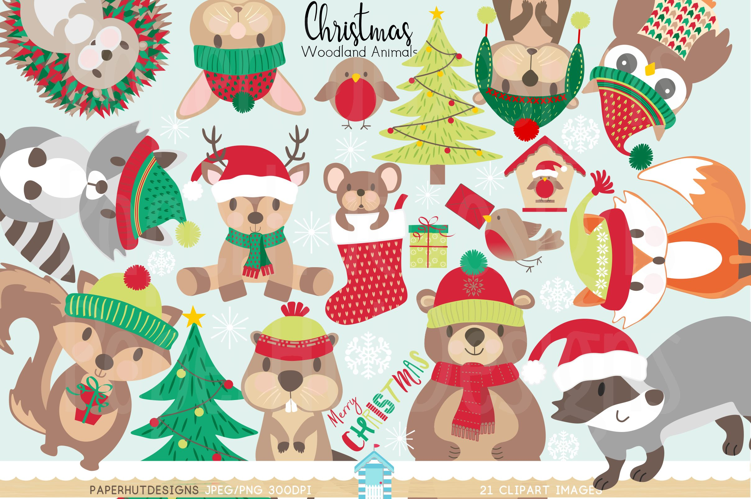 Christmas Woodland Animals Clipart example image 1