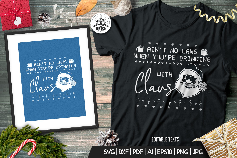 Santa Christmas Ugly Print Template, TShirt Design SVG File example image 2