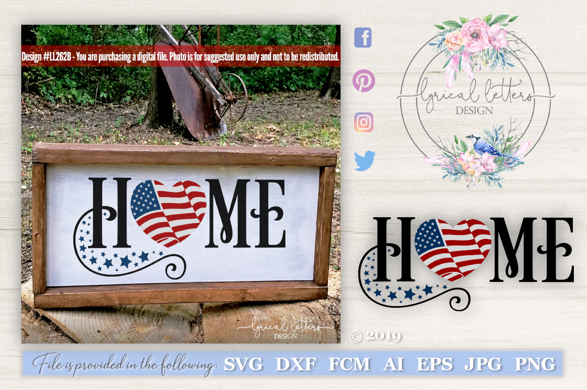 Home with American Flag Patriotic SVG DXF LL262B example image 1