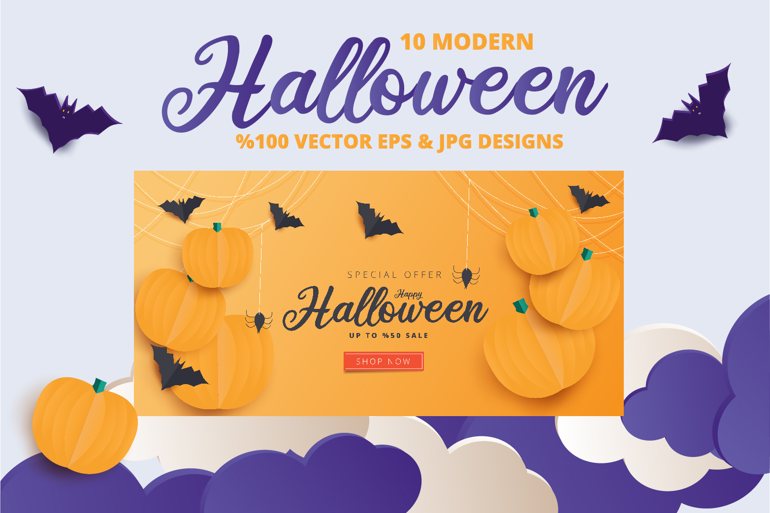 Halloween Sale header or banner design and invitation flyer example image 9