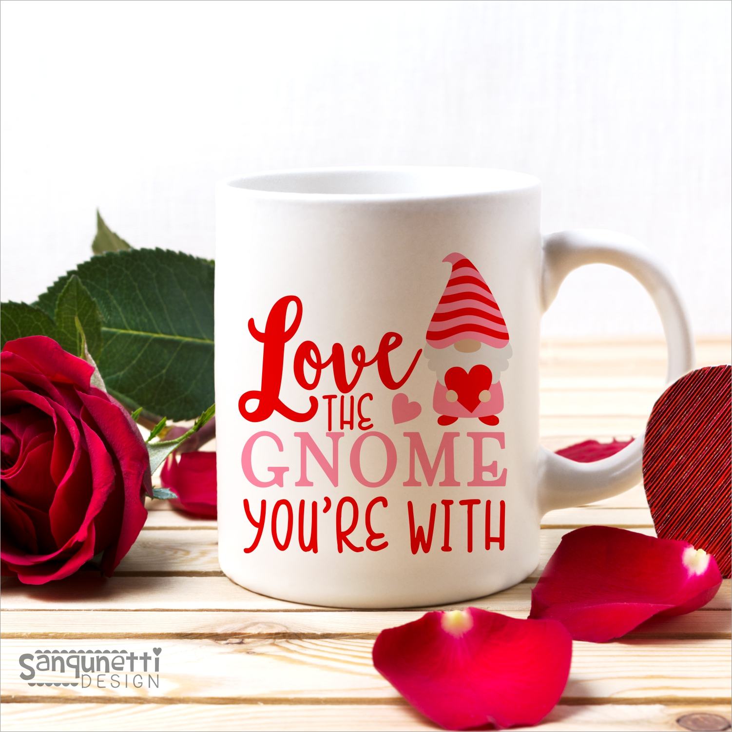 Love the Gnome you're with SVG, Valentine gnome cutting file example image 2