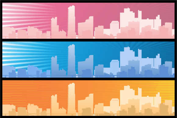 Set of city landscapes backgrounds  example image 5