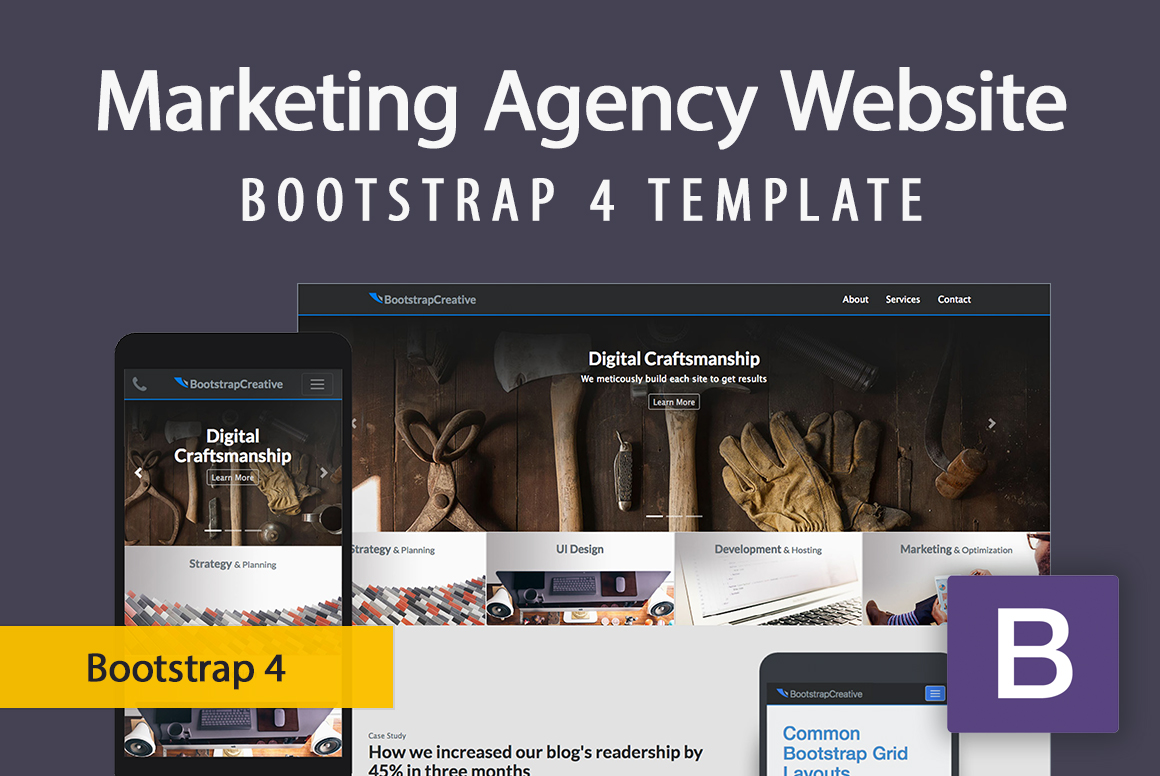 Responsive Marketing Agency Website Template - Bootstrap 4 example image 1