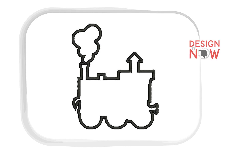Train Engine Toy Applique Embroidery Design, Train Applique example image 2