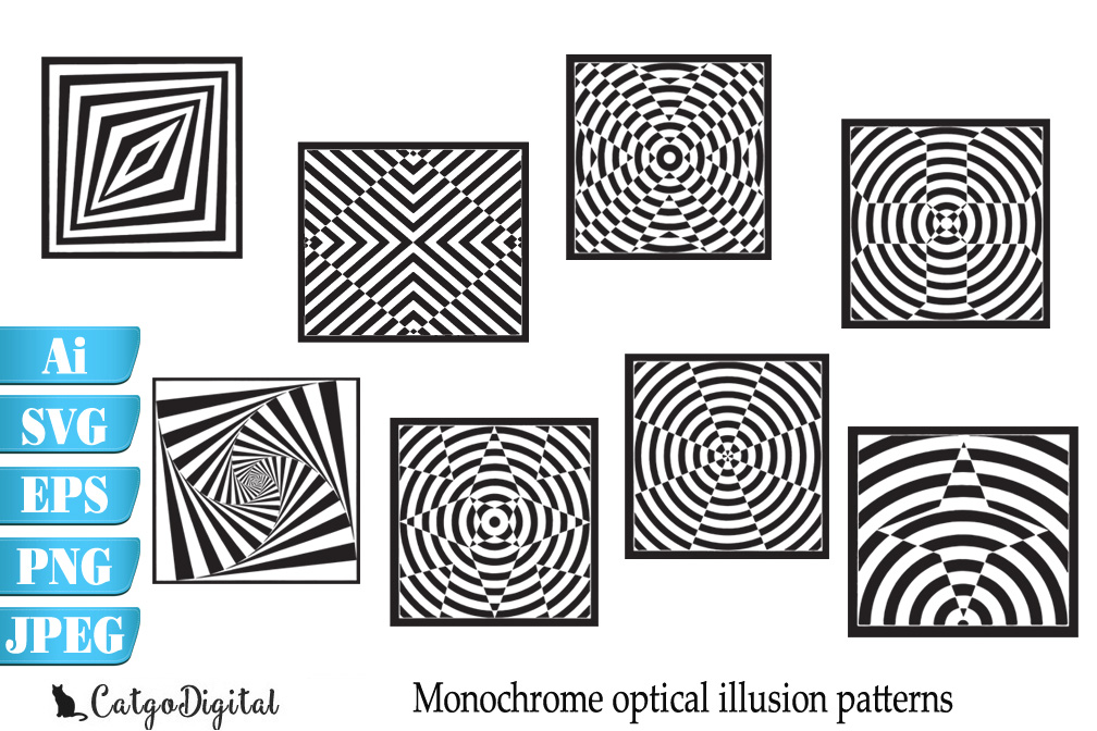 Monochrome Patterns Optical Illusion SVG EPS Ai PNG JPEG example image 1