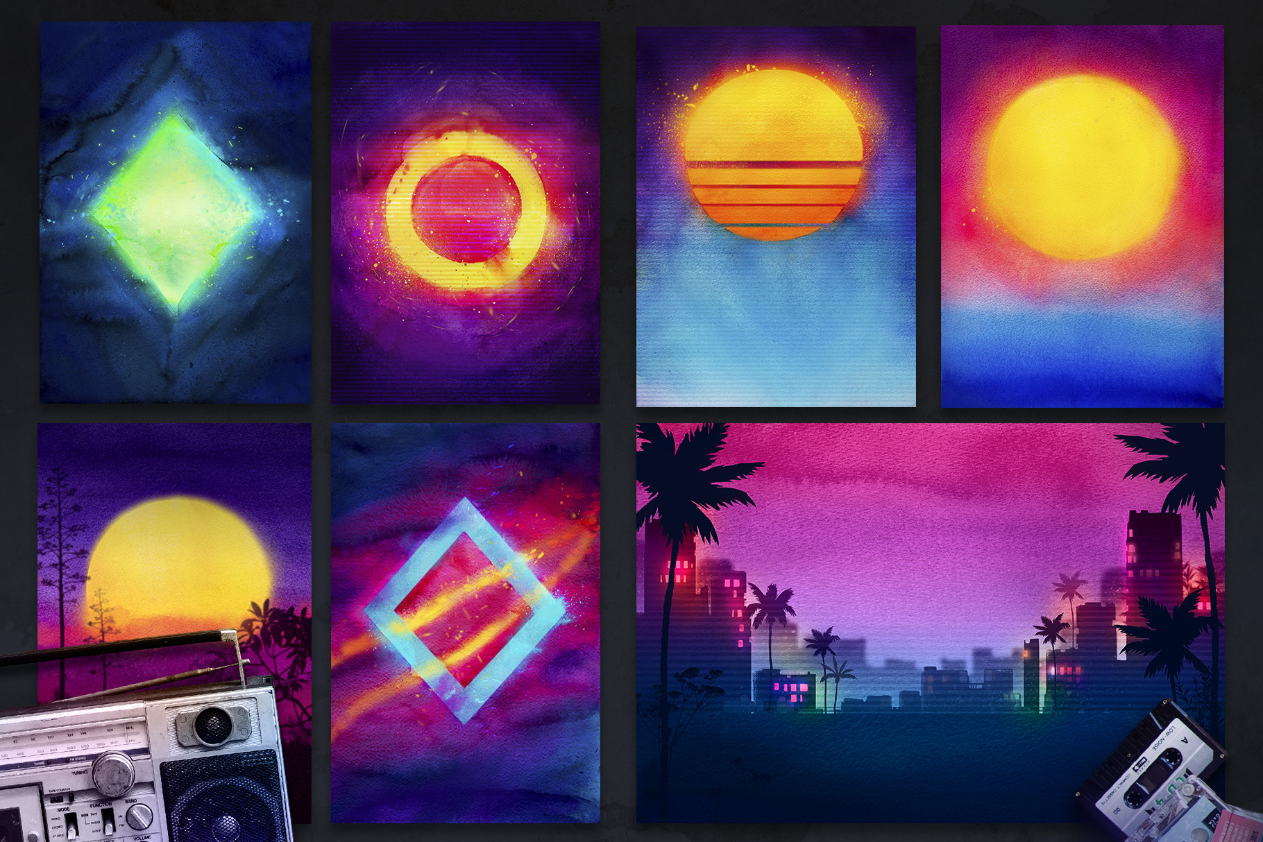 80s Retro Watercolor backgrounds. example image 2