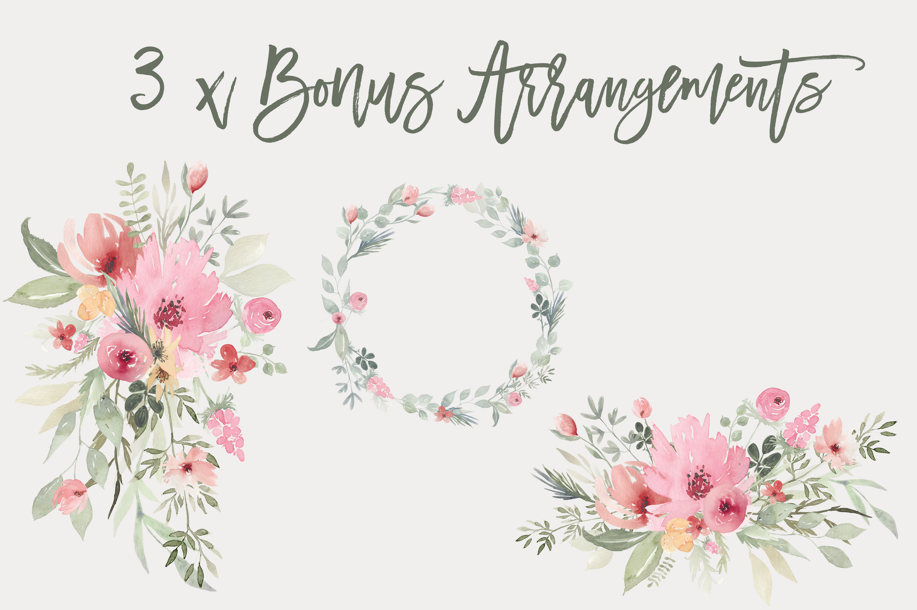 Watercolor Floral Clipart - Blooming Spring example image 2