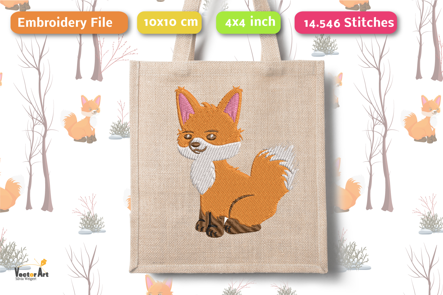 Fox - Embroidery File - 4x4 inch example image 1