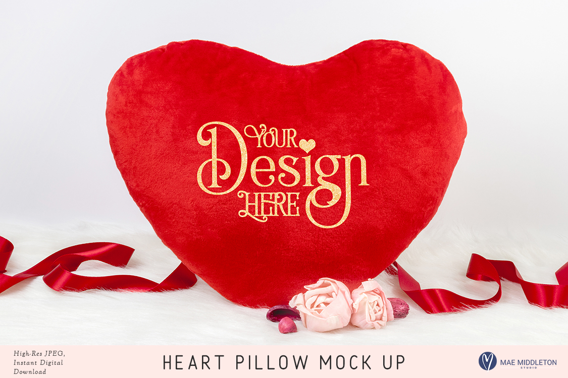 Heart Pillow Mock up for Valentine's day example image 1