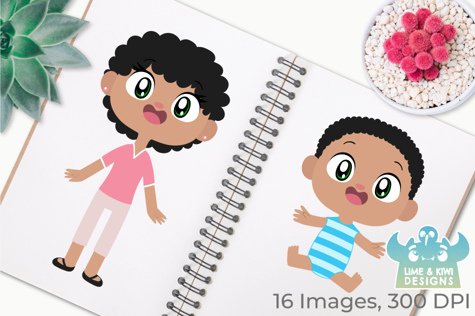 Happy Family 2 Clipart, Instant Download Vector Art example image 3