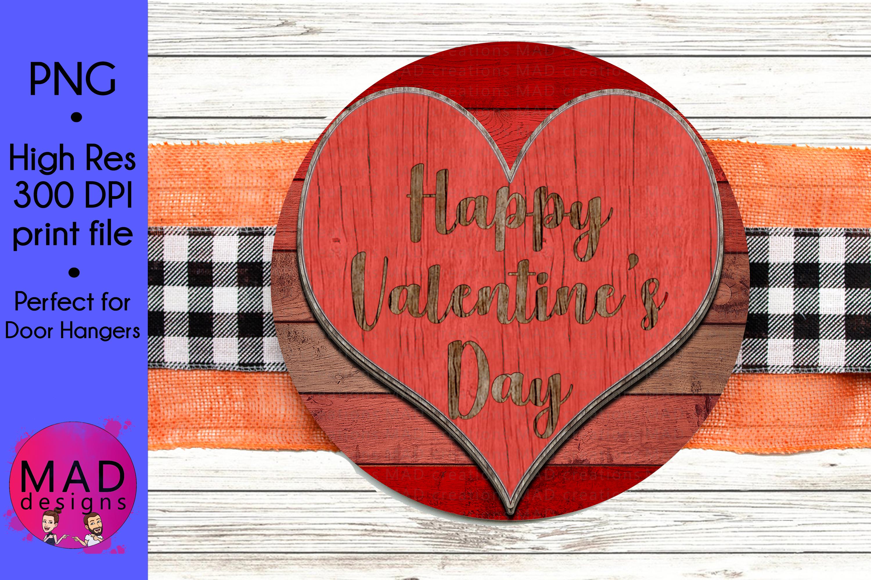 Happy Valentine's Day- Round Door Hanger Sign example image 1