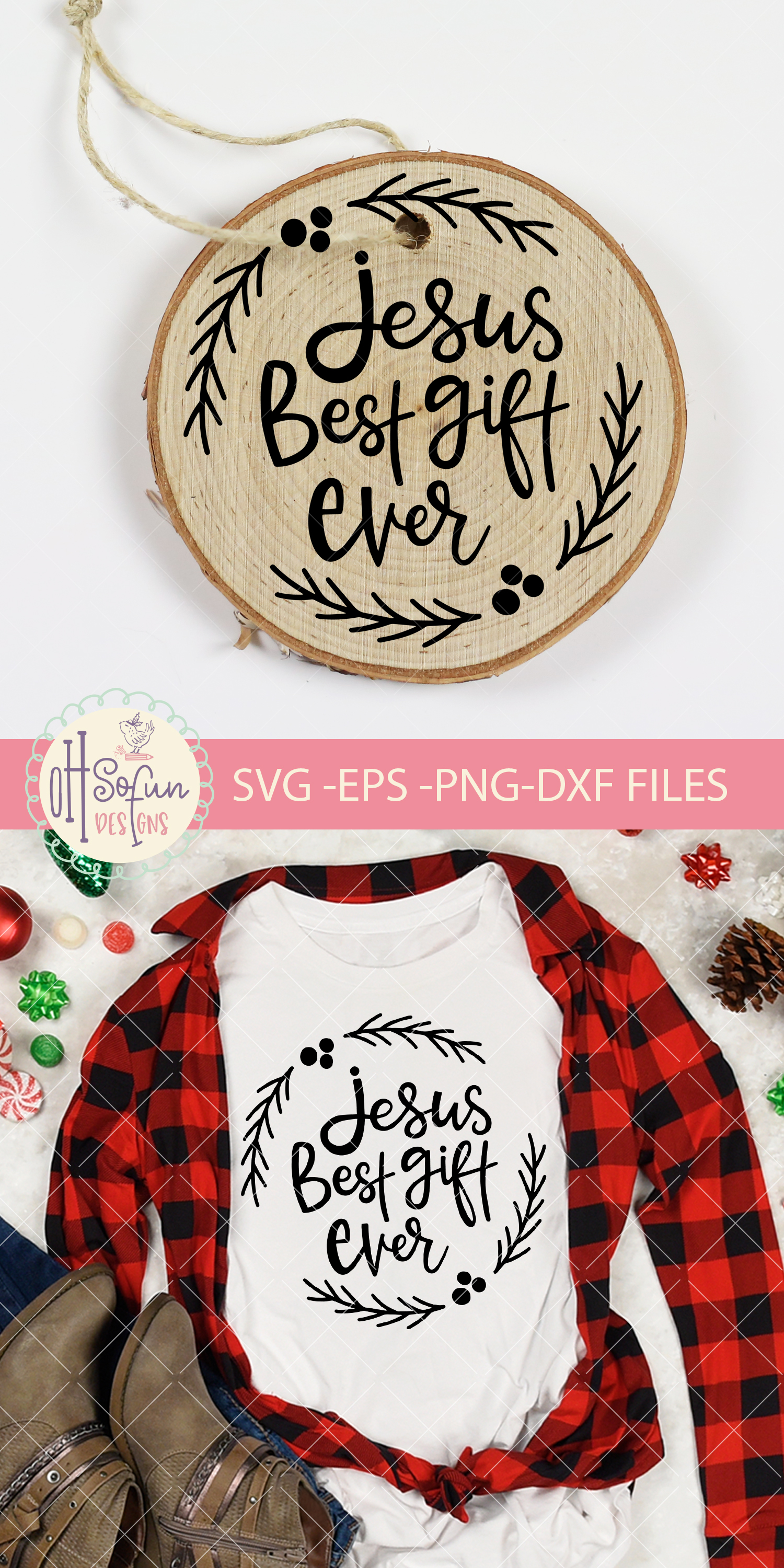 Jesus best gift ever, hand lettering Christmas ornament SVG example image 2