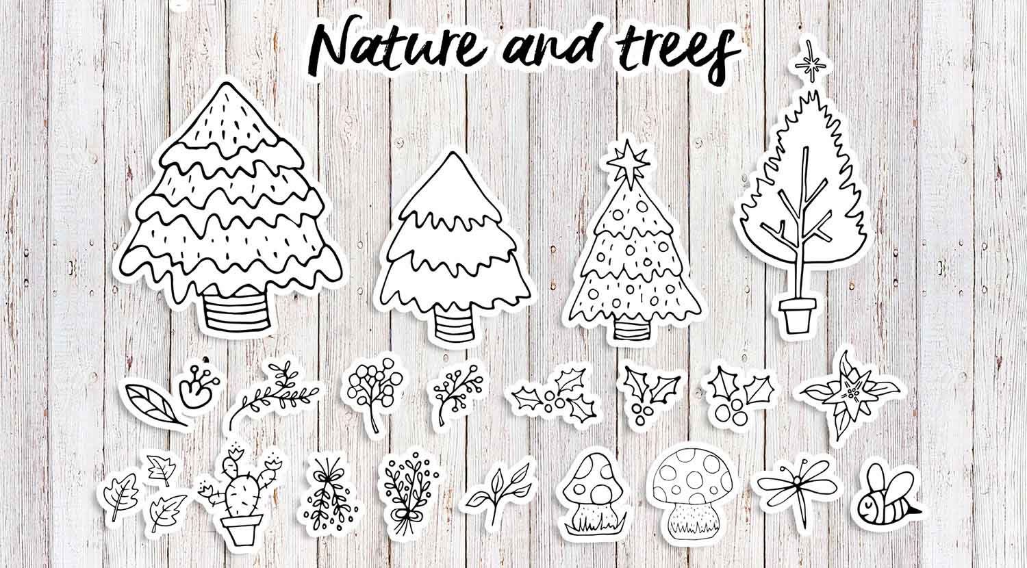 Sweet Christmas: hand drawn set with cute animals example image 9