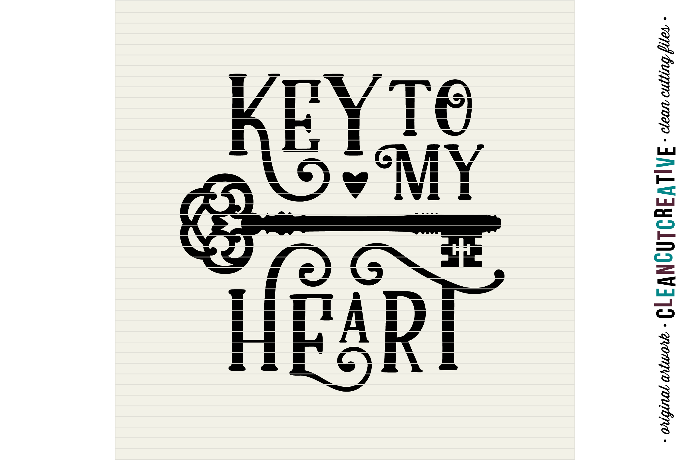 Key to my Heart - Love Cutfile Vintage Key- SVG DXF EPS PNG - Cricut & Silhouette - clean cutting files example image 3