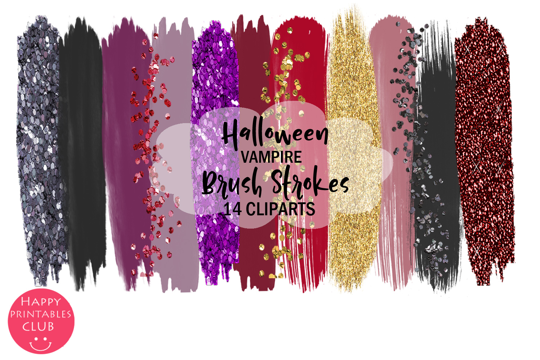 Halloween Vampire Brush Strokes Clipart- Brush Strokes example image 1