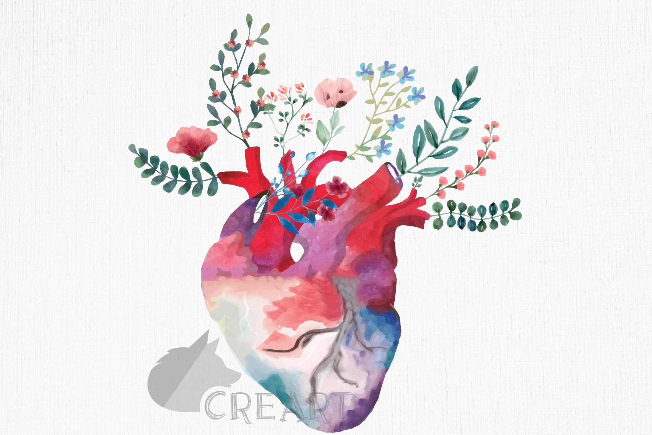 Flowering anatomical heart Valentine's day card design png. example image 1