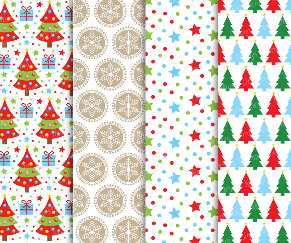 Christmas Digital Paper Pack / Christmas Background / Scrapbooking / Card Making / Patterns / Printables example image 2