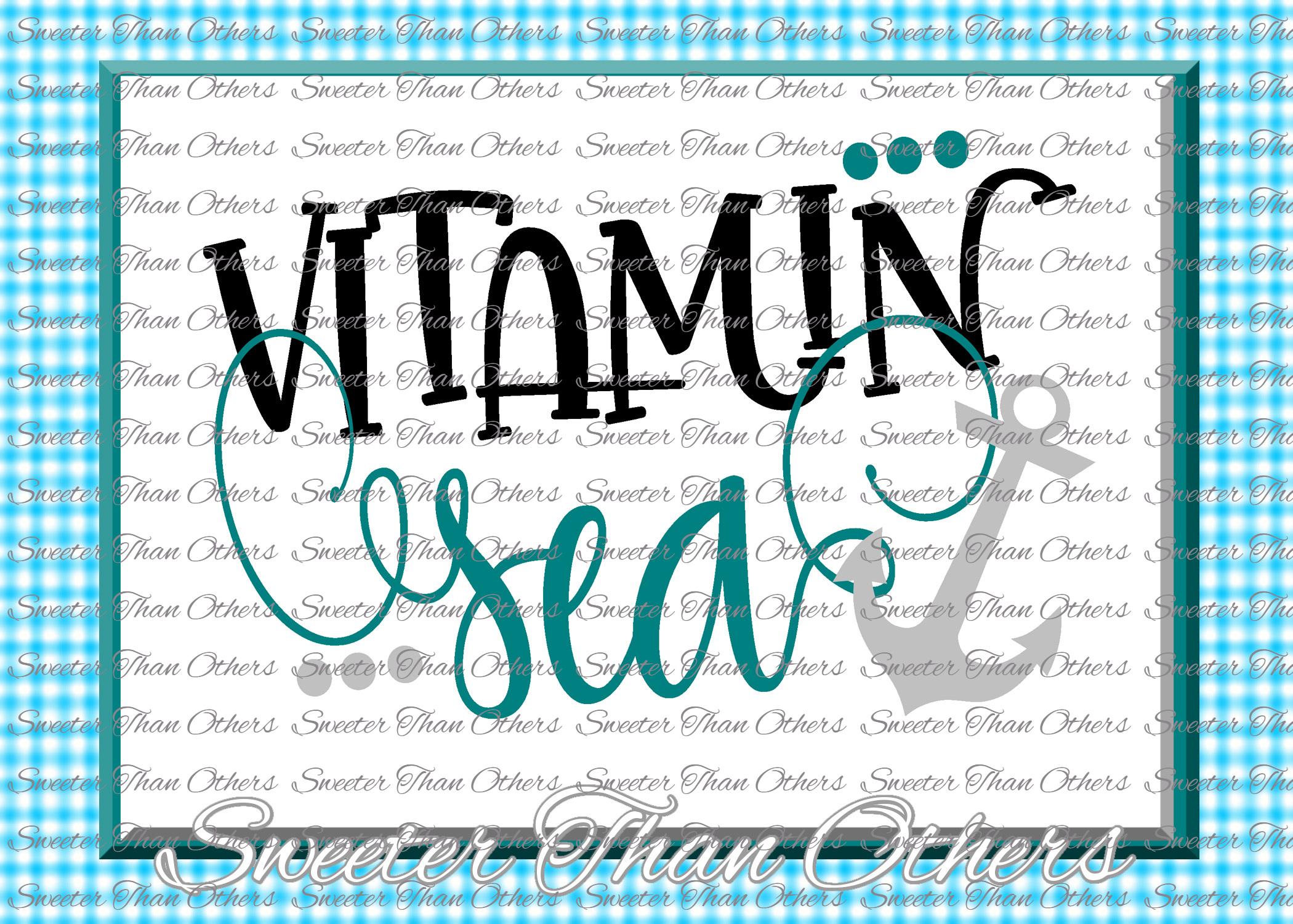 Vitamin Sea Junkie SVG, Beach Svg, Summer beach pattern example image 1