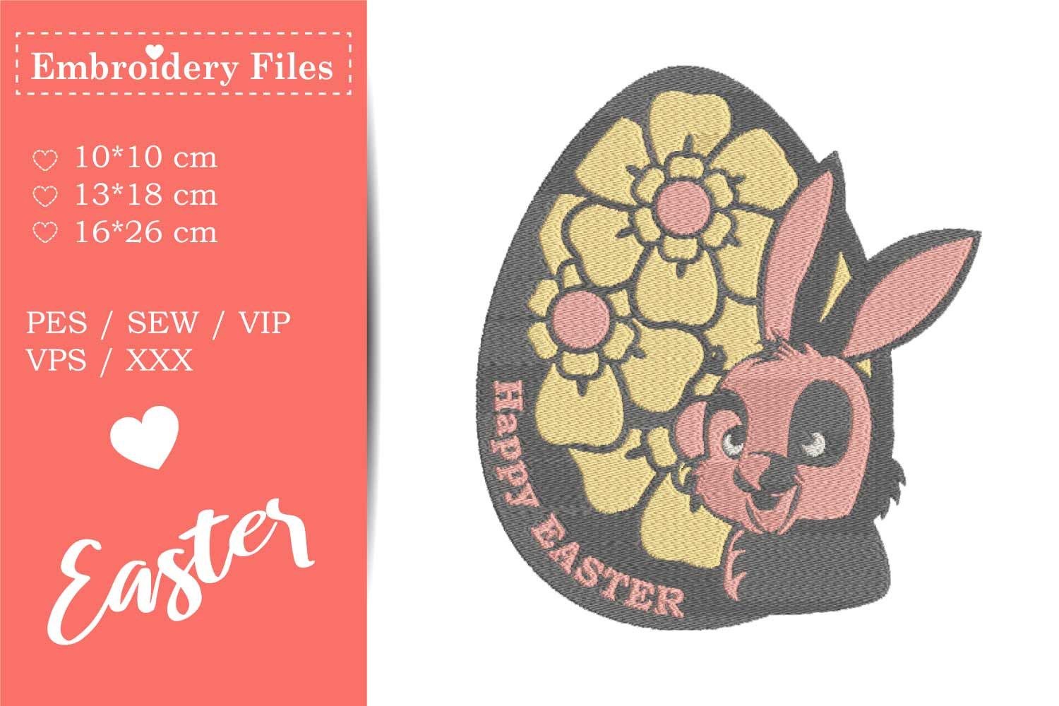 Cute Easter Bunny in an Egg - Embroidery File example image 1