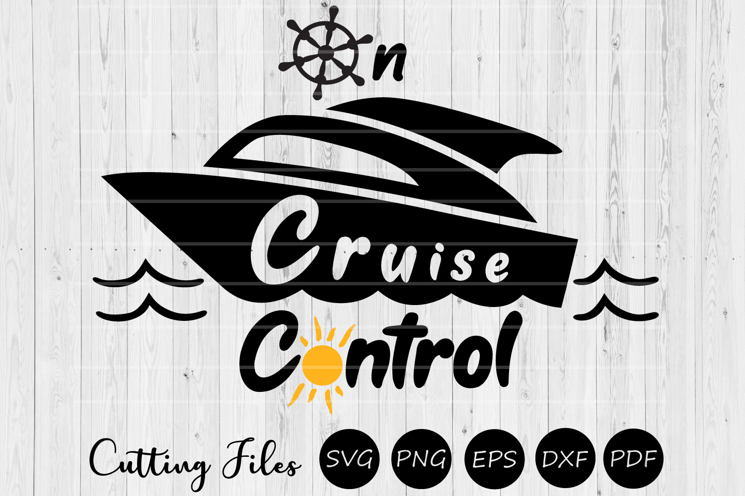 On cruise control | SVG Cutting file| Beach Vacation | example image 1