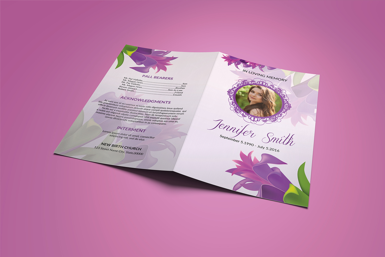 Floral Funeral Program Template example image 2