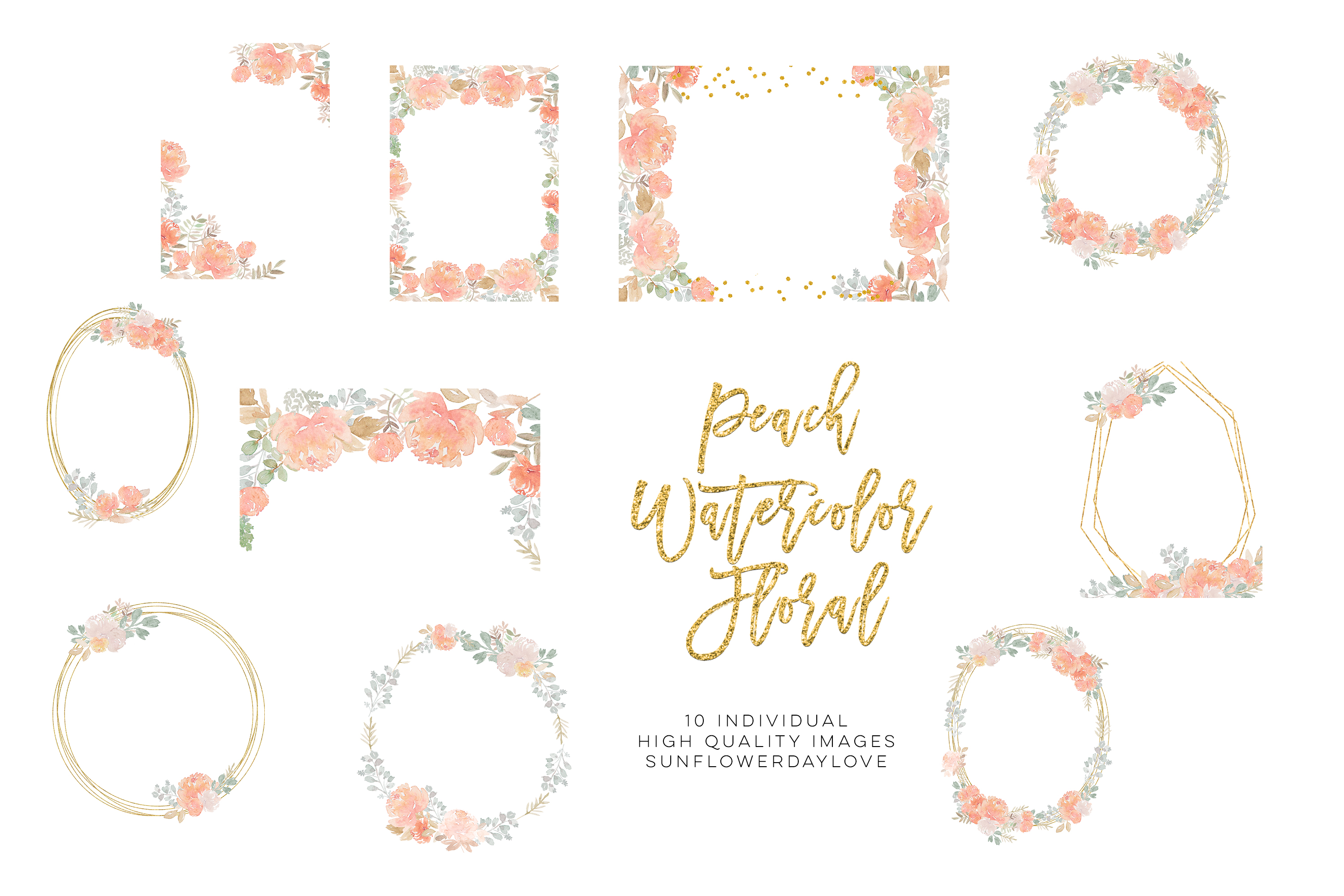 fall floral clipart, Dusty Rose Pink Peach Watercolor Floral example image 4