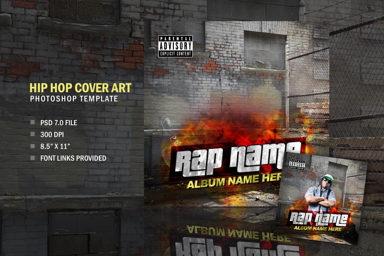 Music Rapper Album Cover, Photoshop Template Design example image 1