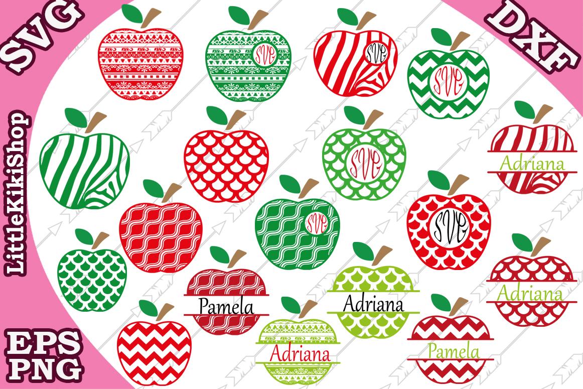 Apple Monogram Frames Svg,Apple Bundle Svg,Apple split svg example image 1