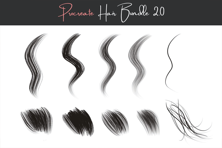 Procreate Hair Brushes 2.0 example image 3