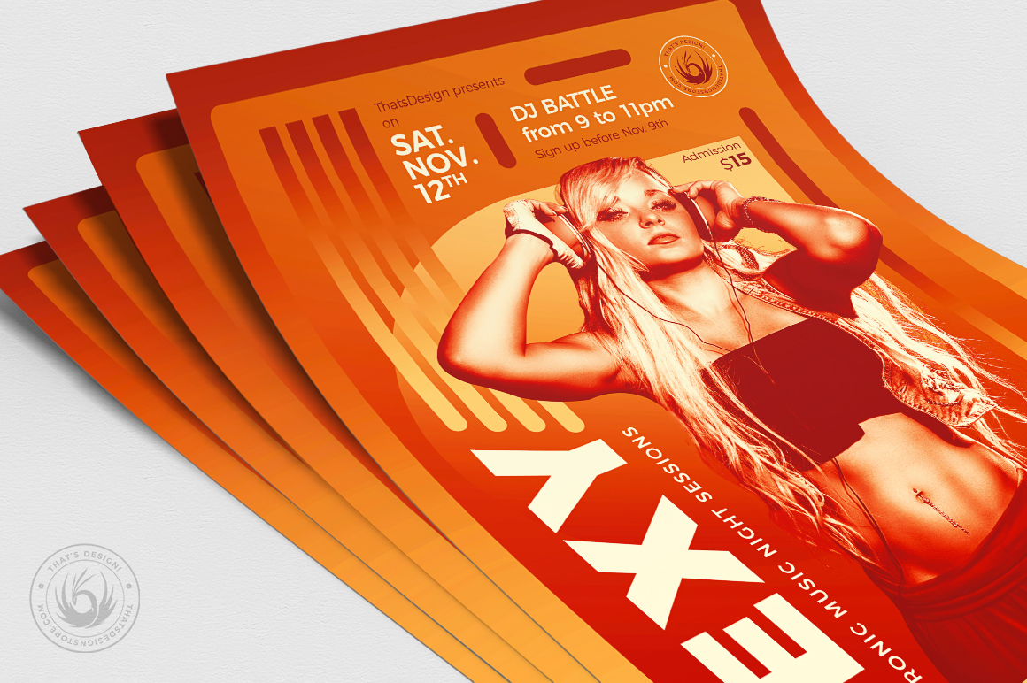 DJ Session Flyer Template V8 example image 5